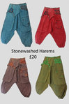 Stone washed Harem Pants - Various Colours