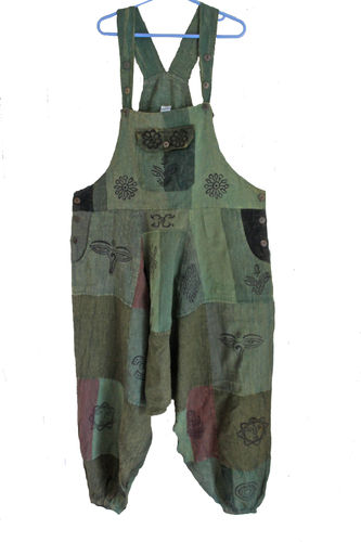 Patch Dungarees - Green