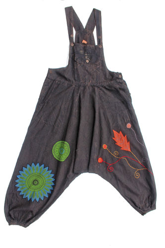 Embroidery Dungarees - Brown