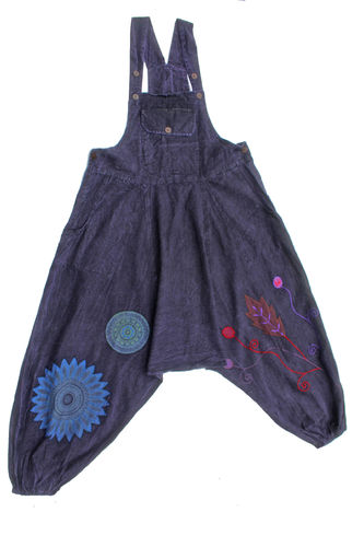 Embroidery Dungarees - Purple